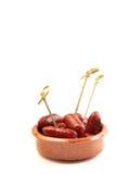 典型加调料的口利左香肠西班牙的塔&# 免版税图库摄影