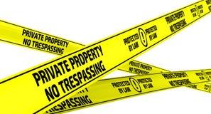 典型忠告意大利的私有财产 没有侵入 保护由法律 黄色警告磁带 库存例证