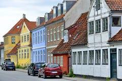 典型的五颜六色的房子在丹麦, 免版税库存图片