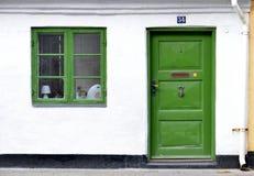 典型的五颜六色的房子在丹麦, 免版税图库摄影