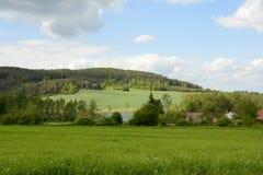 典型的农村漂泊森林风景,捷克,欧洲 免版税图库摄影