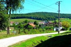 典型的农村风景在村庄Cincsor-Kleinschenk,锡比乌县 图库摄影