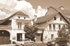 典型的农民房子在撒克逊人的城市鲁佩亚,特兰西瓦尼亚,罗马尼亚 免版税库存照片