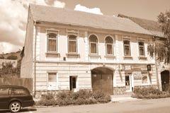 典型的农民房子在撒克逊人的城市鲁佩亚,特兰西瓦尼亚,罗马尼亚 免版税图库摄影