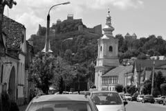 典型的农民房子在撒克逊人的城市鲁佩亚,特兰西瓦尼亚,罗马尼亚 库存照片