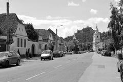 典型的农民房子在撒克逊人的城市鲁佩亚,特兰西瓦尼亚,罗马尼亚 库存图片