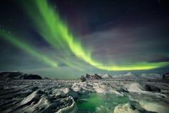 典型的冬天风景在北极-斯瓦尔巴特群岛 库存照片