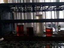 典型的化学家静物画 免版税库存图片