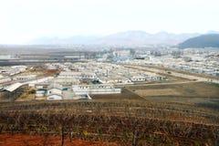 典型的北朝鲜村庄的看法 库存图片