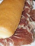 典型的北部意大利快餐:与coppa的三明治 图库摄影