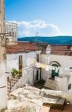 典型的南意大利白色房子 佩斯基奇,普利亚,意大利 图库摄影