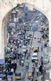 典型的印地安街道,海得拉巴,印度 免版税库存图片