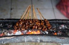 典型的印度尼西亚盘心满意足在地方街市上的ayam 免版税库存图片