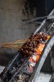 典型的印度尼西亚盘心满意足在地方街市-垂直上的ayam 库存照片
