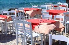 典型的地中海餐馆 库存照片
