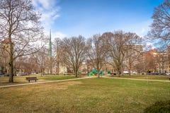 典型的城市公园在美国的中西部 免版税库存图片