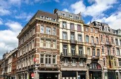 典型的大厦在列日,比利时的市中心 图库摄影