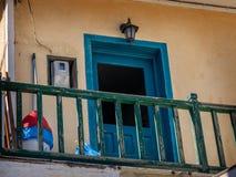 典型的希腊地方公寓Mandraki镇Nisoros海岛爱琴海 库存照片