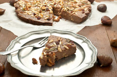 典型的意大利欧洲栗木蛋糕做用栗子 免版税库存图片