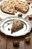 典型的意大利欧洲栗木蛋糕做用栗子 库存图片