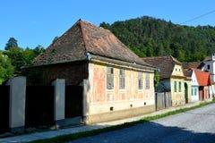 典型的房子在撒克逊人的村庄Malancrav,特兰西瓦尼亚 库存图片