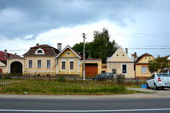 典型的房子在村庄沃尔坎火山,特兰西瓦尼亚 免版税库存图片
