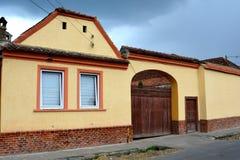 典型的房子在村庄沃尔坎火山,特兰西瓦尼亚 免版税图库摄影