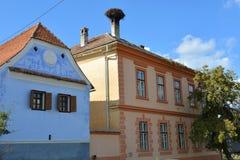 典型的房子在村庄Viscri,特兰西瓦尼亚 库存照片