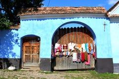 典型的房子在村庄Viscri,特兰西瓦尼亚 免版税库存照片