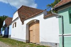 典型的房子在村庄Viscri,特兰西瓦尼亚 图库摄影