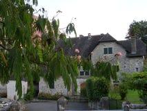 典型的村庄房子在夏天 免版税库存图片