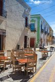 典型的殖民地街道在坎比其,墨西哥 图库摄影