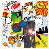 典型的漫画书页的大模型 导航漫画流行艺术超级英雄概念空白与云彩射线的布局模板 库存例证