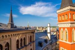 典型的瑞典房屋建设,斯德哥尔摩,瑞典屋顶  免版税库存照片