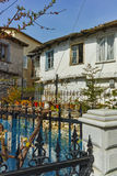 典型的老房子风景在Panagia村庄, Thassos海岛,希腊 免版税库存图片