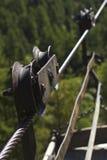 典型的老空中览绳在阿尔卑斯 库存照片
