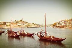 典型的葡萄牙小船以前用于运输famou 图库摄影