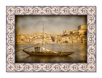 典型的葡萄牙小船,以前用于运输famo 免版税库存照片