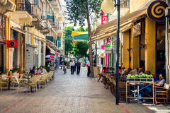 典型的街道在尼科西亚,塞浦路斯 免版税库存图片