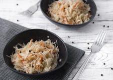 典型的被发酵的食物在某些国家例如俄罗斯、波兰或者德语 两道工艺板材开胃菜 免版税库存图片