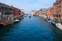 典型的运河和街道场面,威尼斯 库存图片