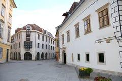 典型的都市风景在肖普朗(Ã-denburg),匈牙利 免版税图库摄影