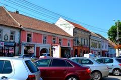 典型的都市风景在镇Sebes,晨曲,特兰西瓦尼亚 库存图片