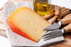 典型的马翁乳酪,巴利阿里群岛,西班牙 免版税库存照片