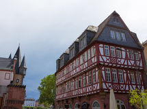 典型的建筑学在法兰克福老镇在德国 免版税图库摄影