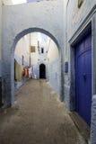 典型的巴巴里人类型巷道, Azemmour摩洛哥镇  库存图片