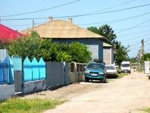 典型的lanscape在多瑙河三角洲的一个村庄 库存图片