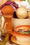 典型自创意大利的蔬菜通心粉汤 免版税库存照片