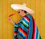 典型辣椒热人墨西哥胡椒雨披的serape 图库摄影
