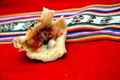 典型食物高地的秘鲁人 图库摄影